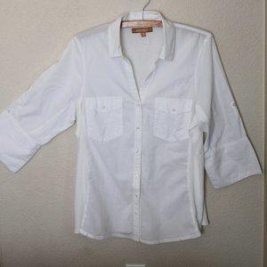Vintge 80s ELLEN TRACY Women's White Cotton Combin